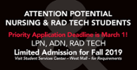 Nursing & Rad Tech Deadline March 1